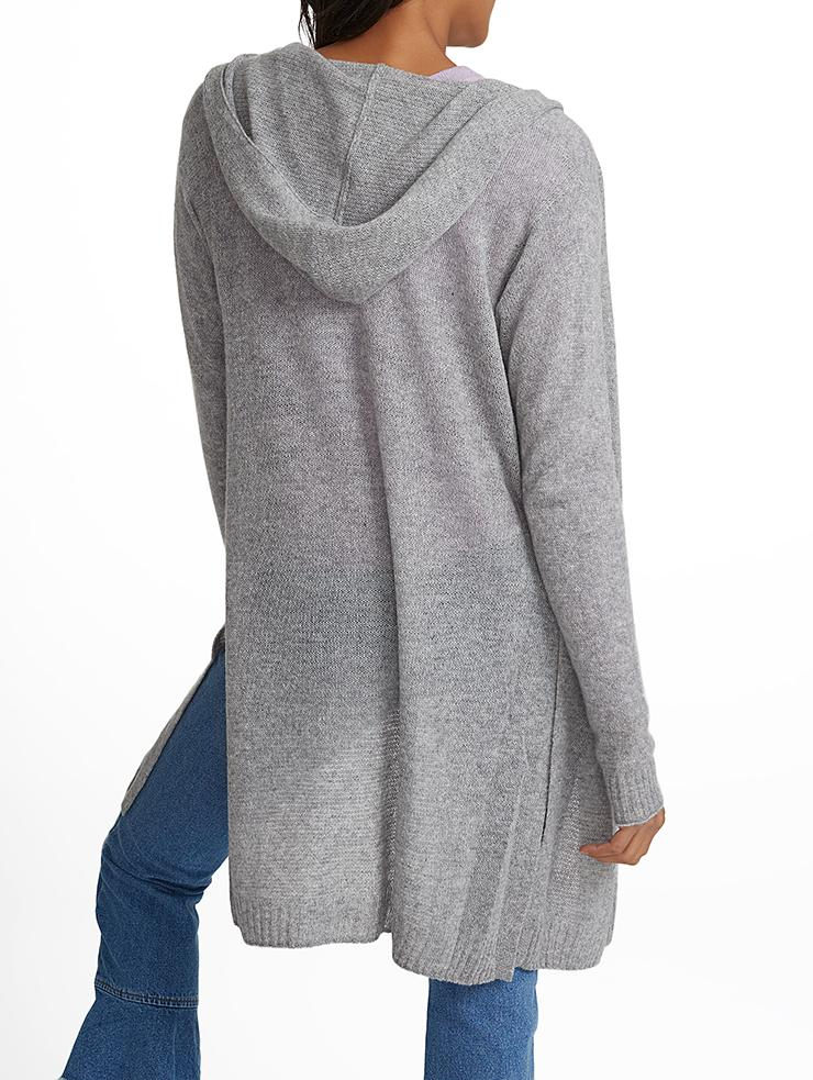 White   warren Cashmere Side Slit Hooded Cardigan in Gray | Lyst