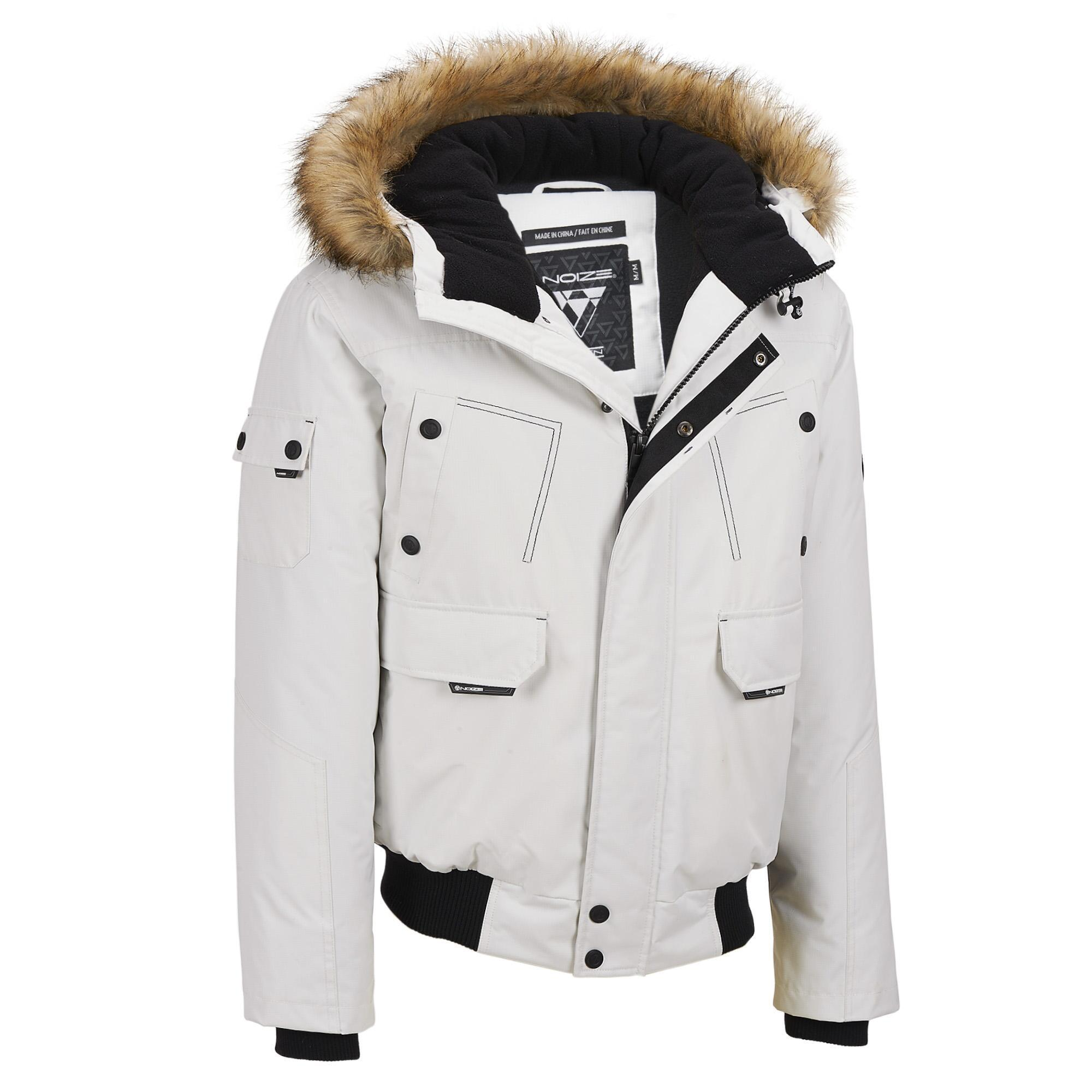7b5591ba9 Wilsons Leather White Web Buster Noize Hooded Fabric Bomber W/ Faux-fur Trim