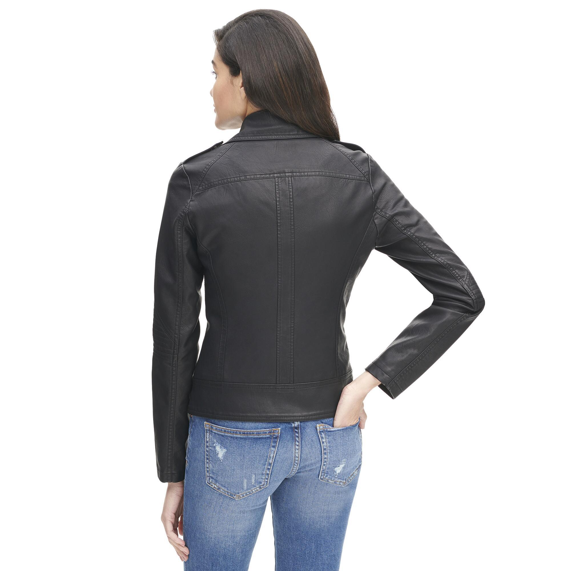 e44cb5192dc54 Wilsons Leather - Black Plus Size Marc New York Faux-leather Cycle Jacket W .  View fullscreen