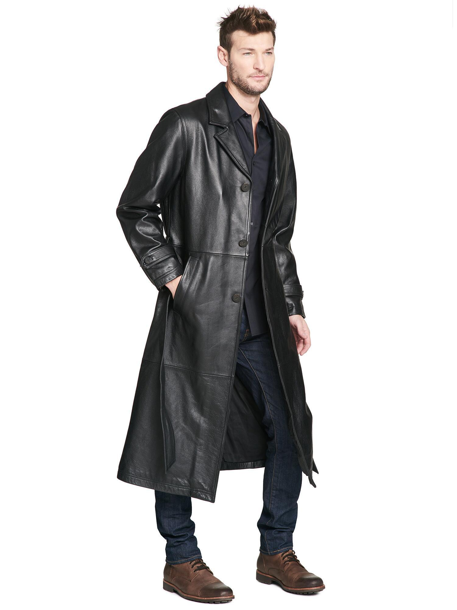 Wilsons Leather Oliver Belted Leather Trench Coat In Black For Men Lyst