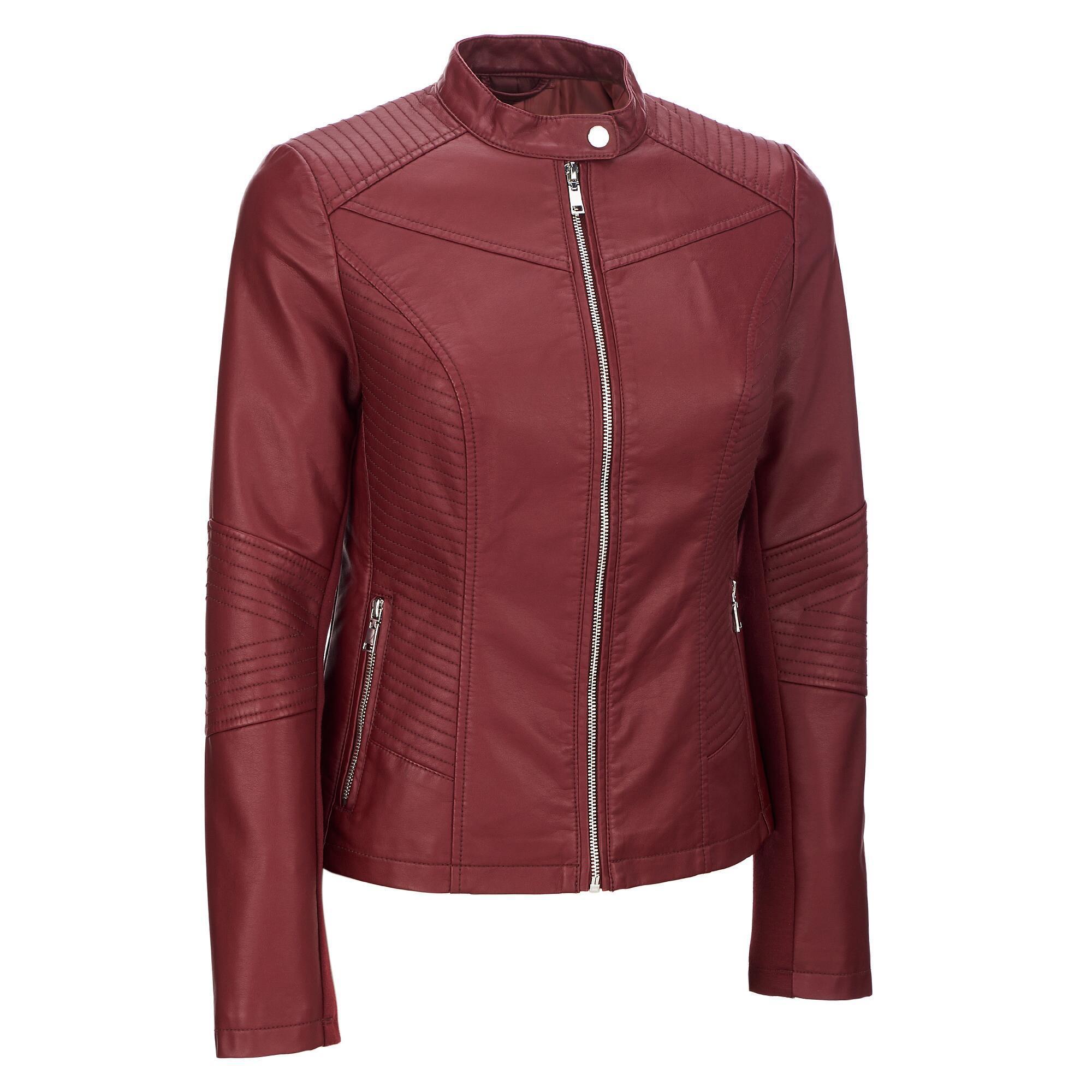 683bdb1f5c7 ... Plus Size Black Rivet Moto Mock Collar Faux-leather Jacket -. View  fullscreen