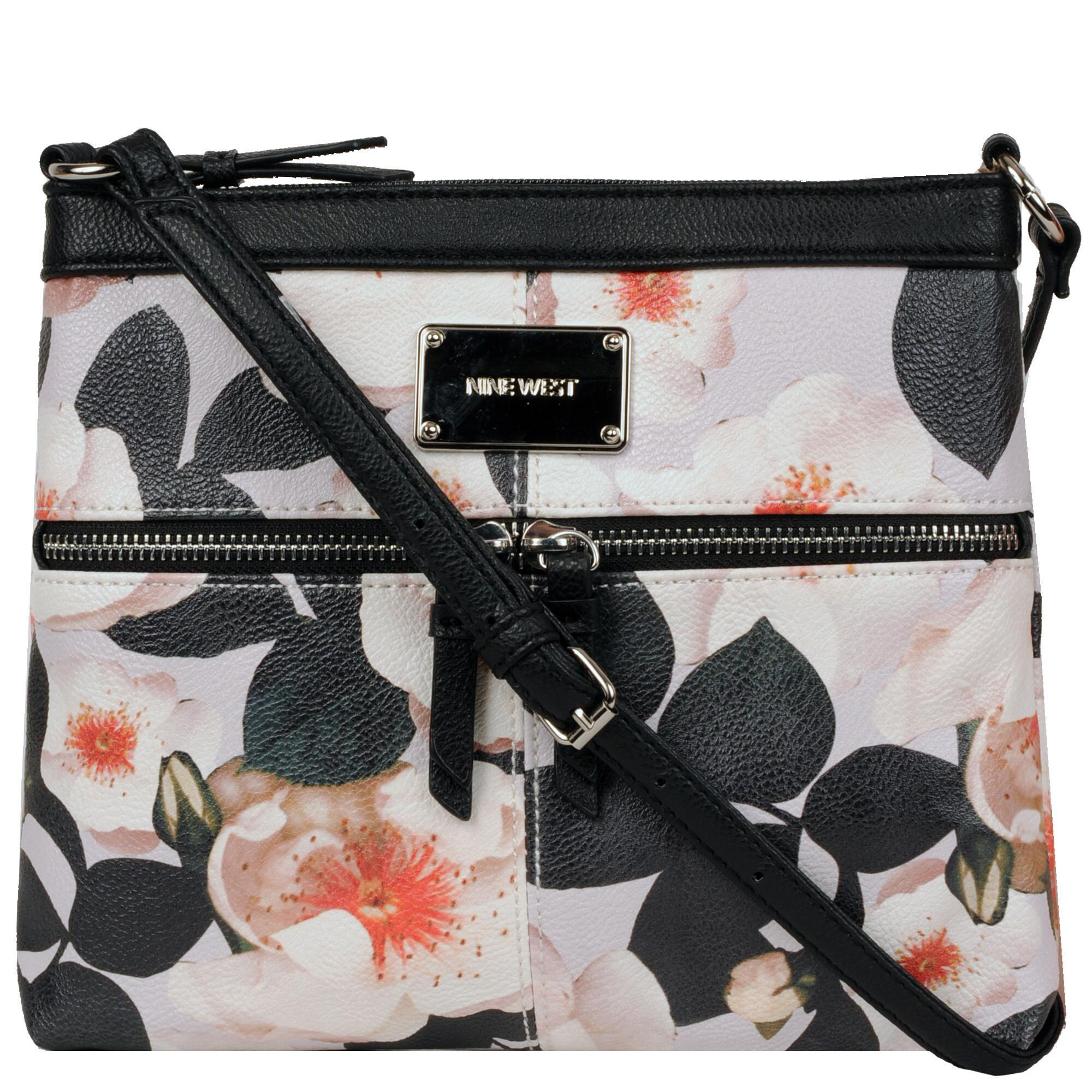 f3802e13963c Wilsons Leather Black Nine West Encino Floral Faux-leather Crossbody