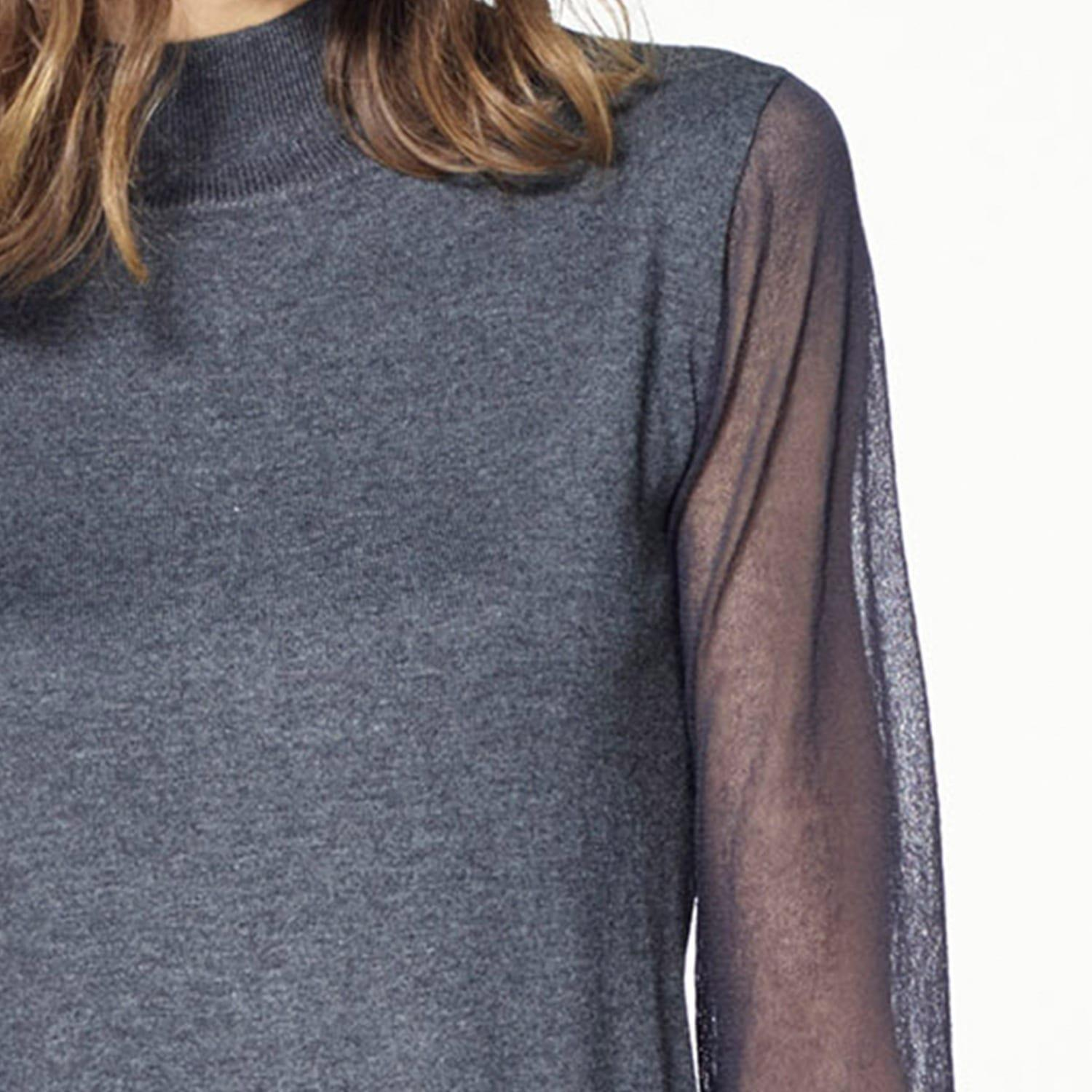Paisie Synthetic Turtleneck Jumper With Sheer Sleeves In Grey in Grey