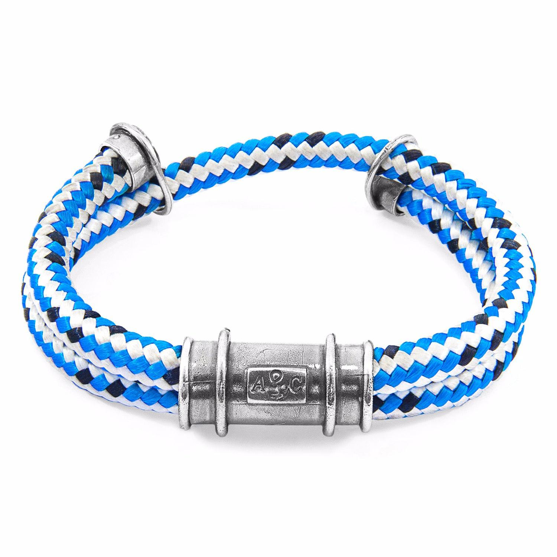 Anchor & Crew Blue Dash Delta Anchor Silver & Rope Bracelet dyEYDe9h