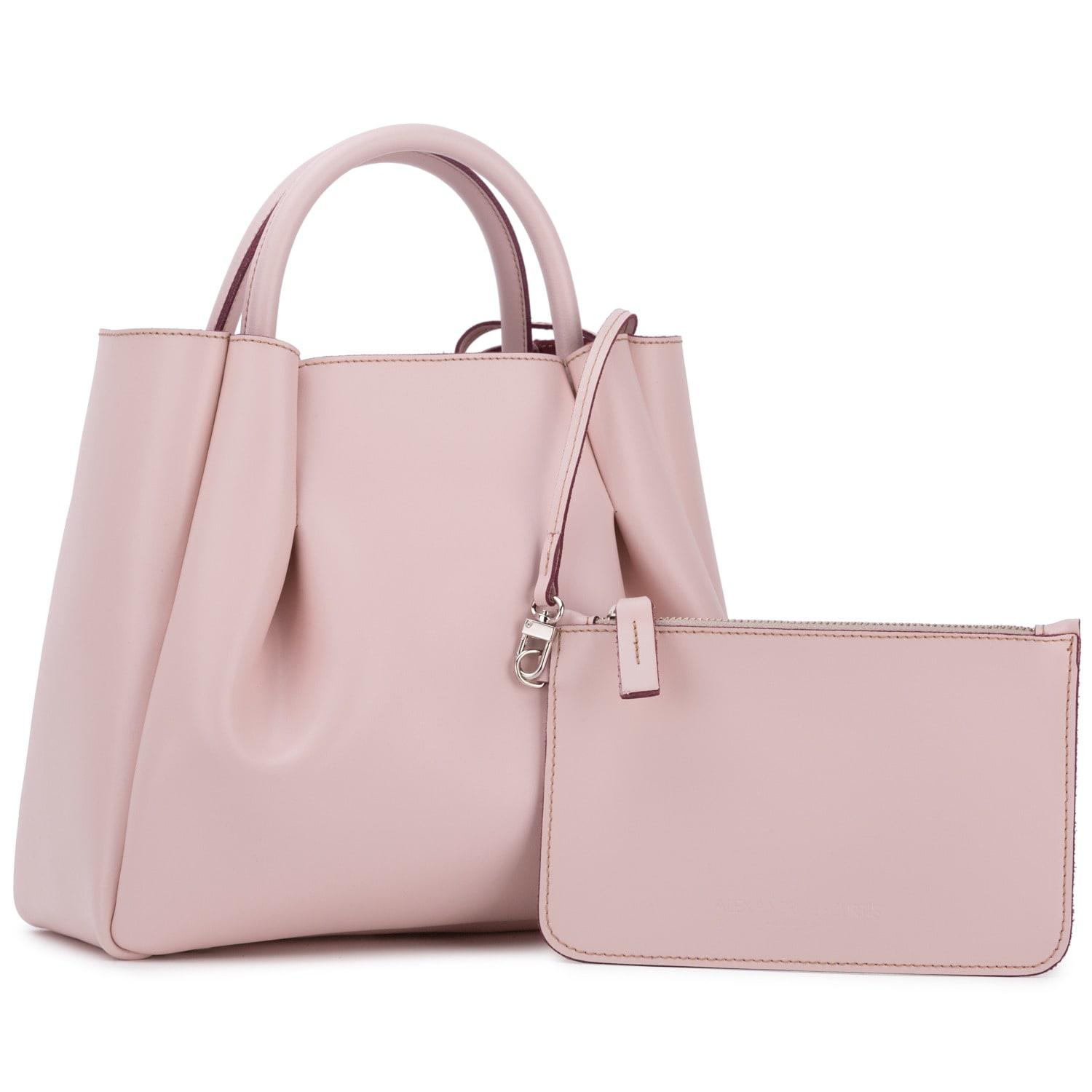 Alexandra De Curtis Suede Midi Ruched Tote Blush Pink