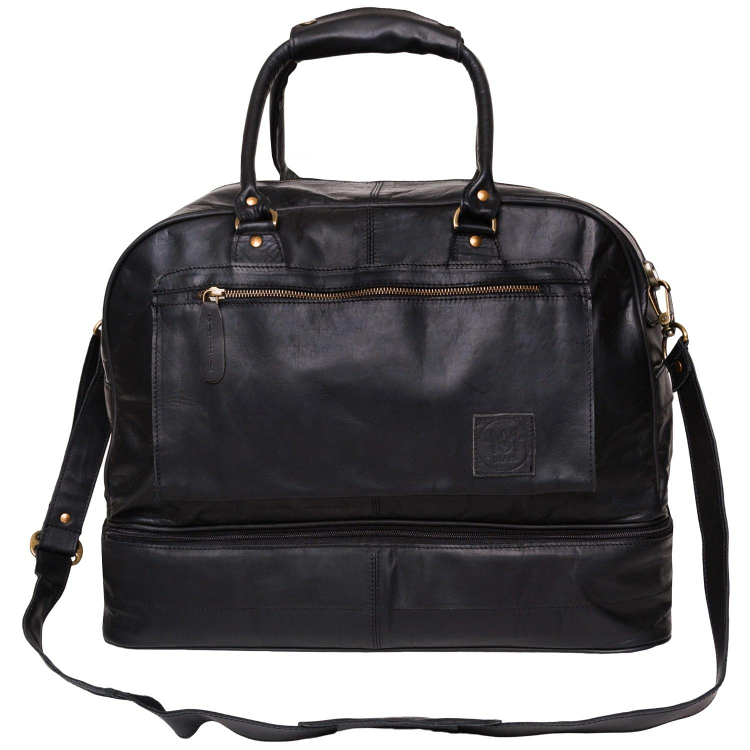 8350ca98b8492a Mahi leather Large Leather Raleigh Holdall Overnight/weekend Bag With Under  Compartment In Black .