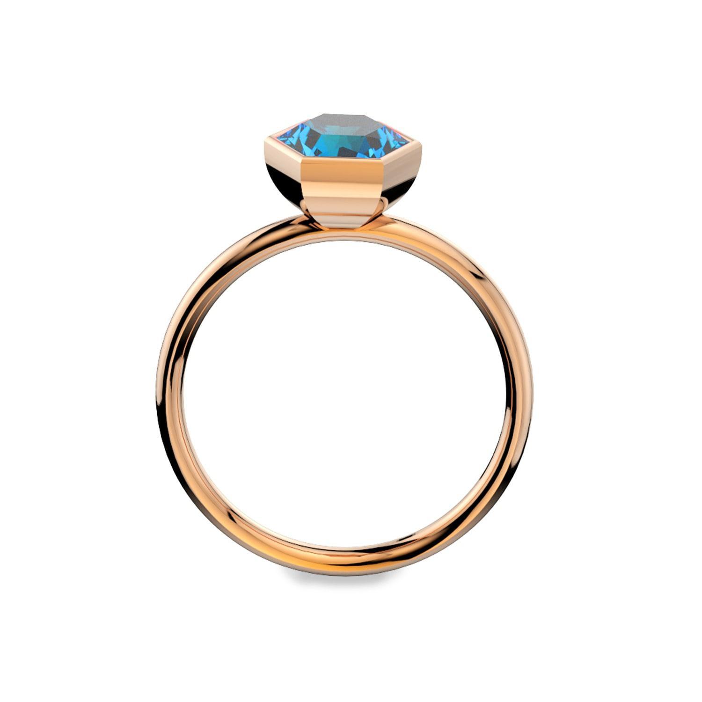 MARCELLO RICCIO Blue Topaz 18k Rose Gold Vermeil Ring in Metallic