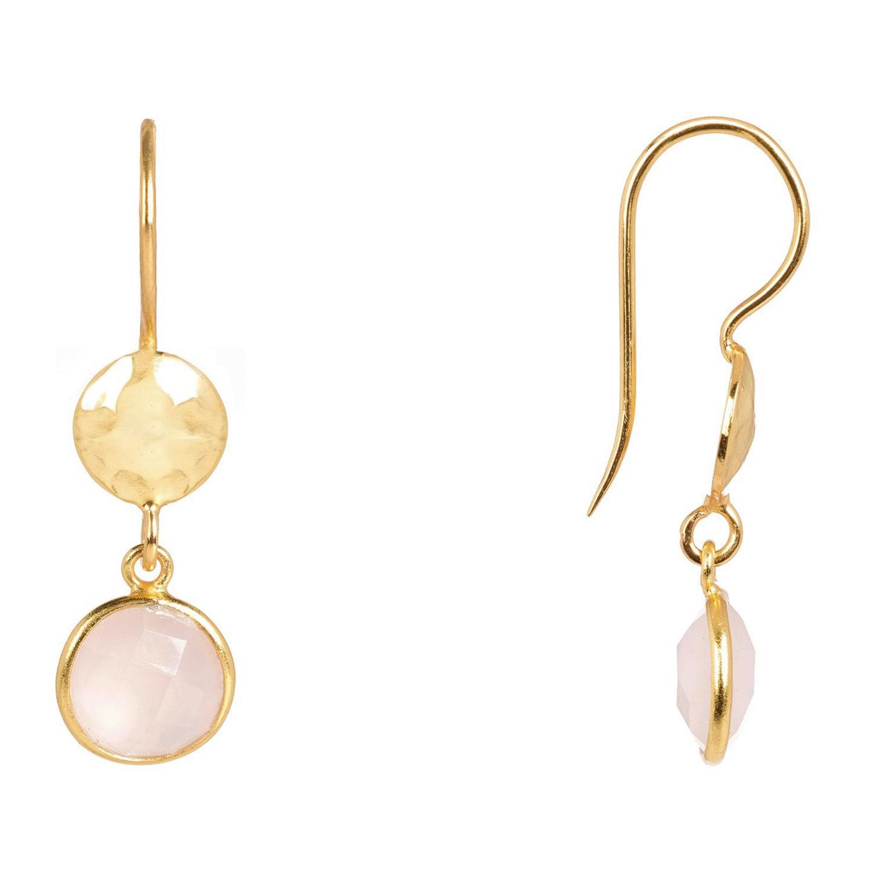 LÁTELITA London Circle & Hammer Earring Gold Rose Quartz in Gold / Pink / Purple (Metallic)