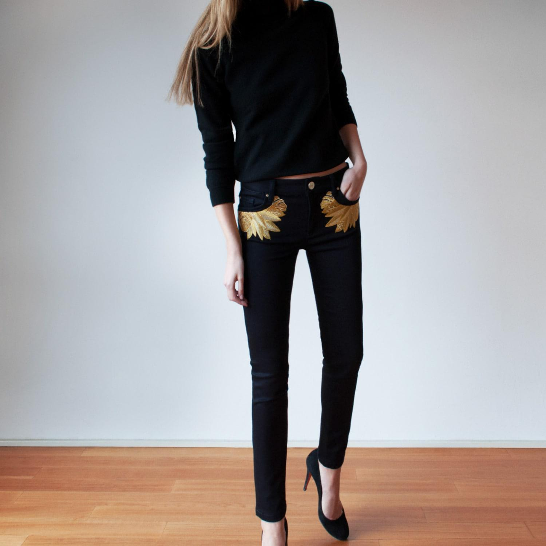 My Pair Of Jeans Denim Gold Leaf Slim in Gold / Black (Black)