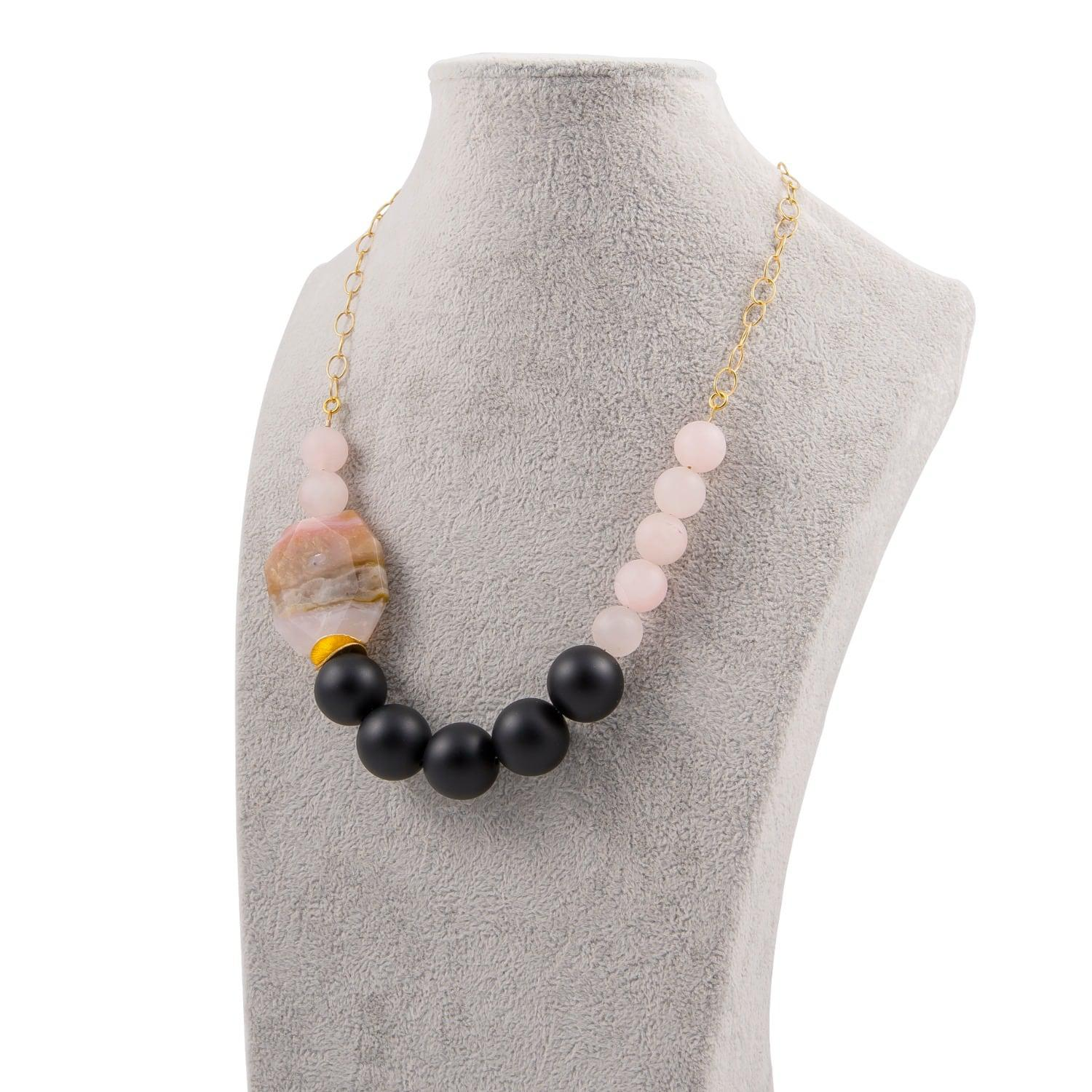 Magpie Rose Peruvian Pink Opal & Black Onyx Statement Necklace