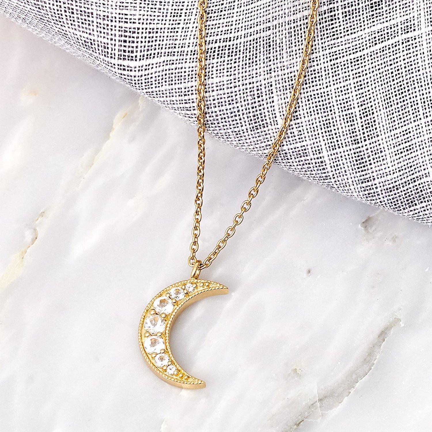 MONARC JEWELLERY Selene Necklace. 9ct Gold And White Topaz in Metallic
