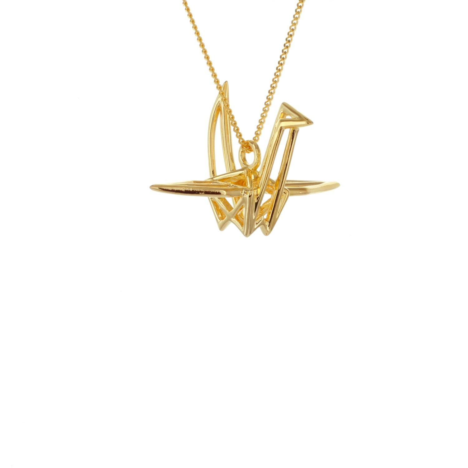Origami Jewellery Sterling Silver & Gold Frame Crane Origami Necklace in Metallic - Save 28%
