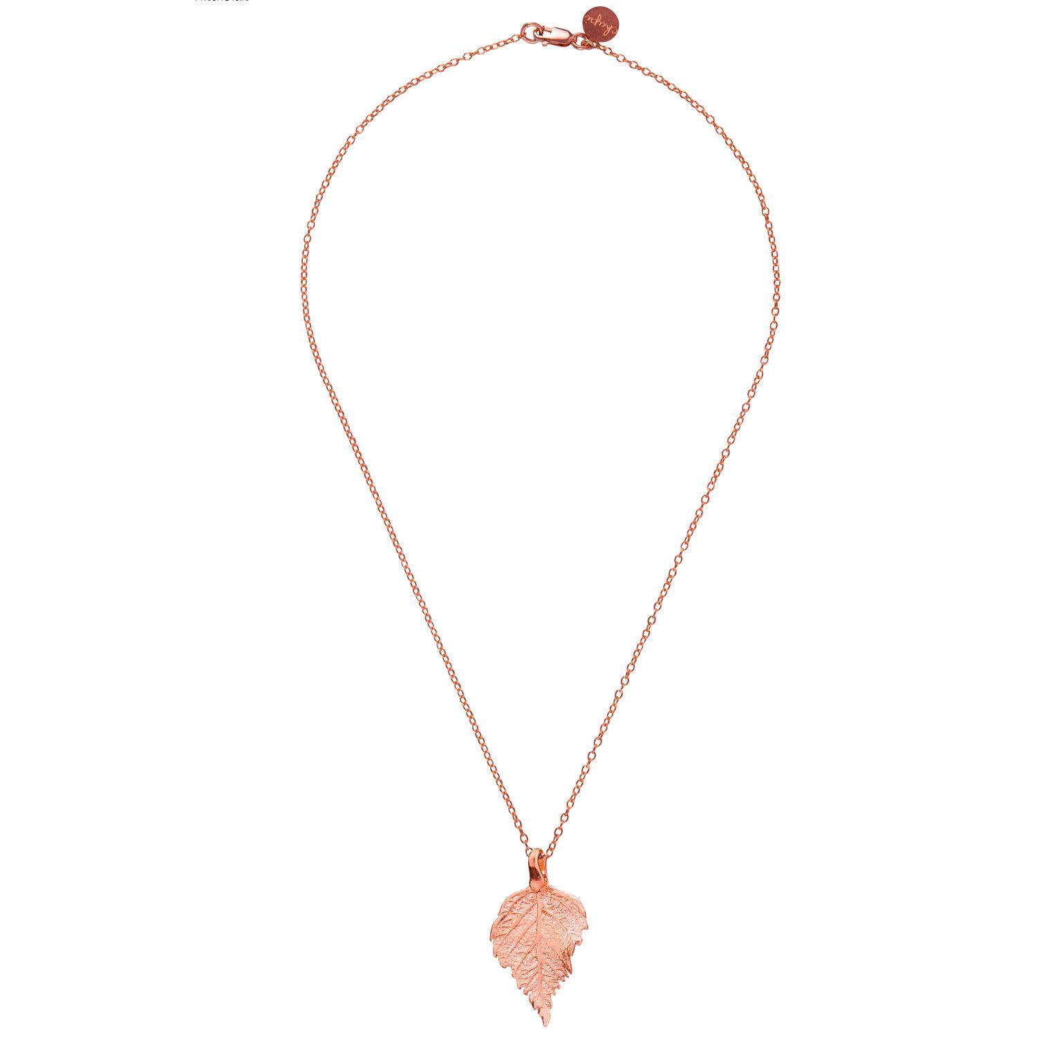 Chupi The Sweetest Thing Tiny Raspberry Leaf Necklace Rose Gold in Metallic