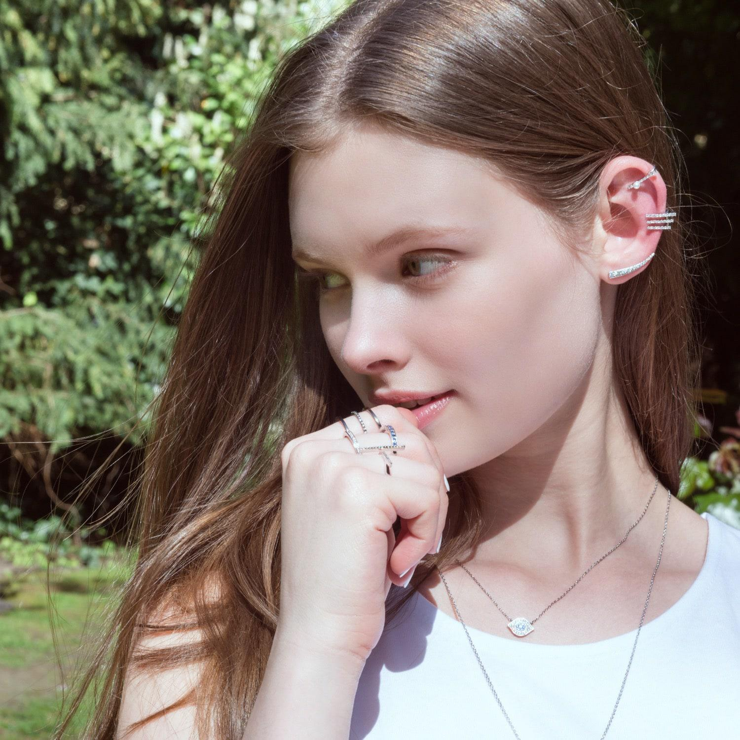 Astrid & Miyu Double Bewitched Ring In Silver in Metallic