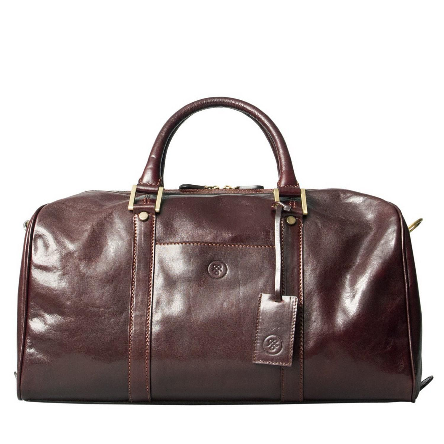 lyst maxwell scott bags luxury italian leather small travel bag fleros dark chocolate brown in. Black Bedroom Furniture Sets. Home Design Ideas