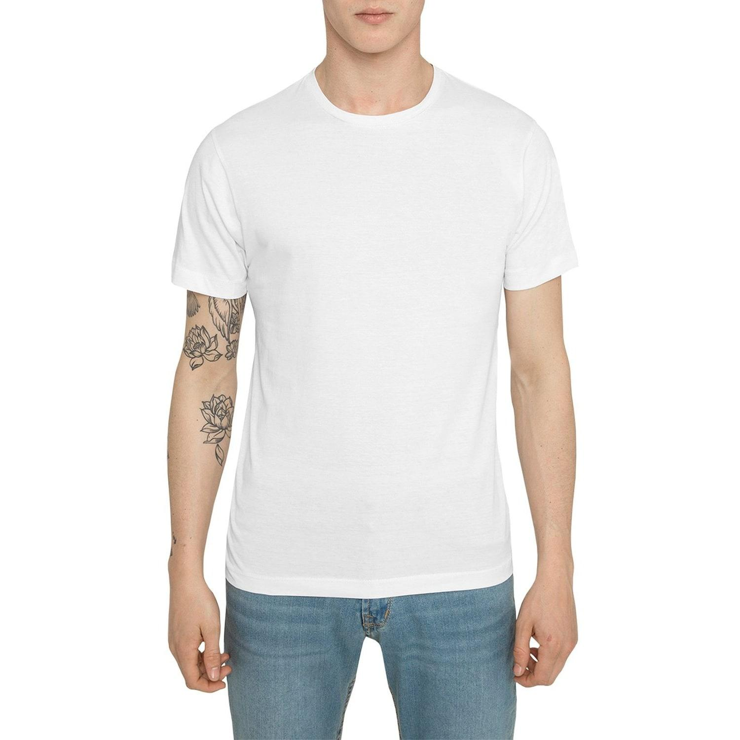 Raddar7 Casual Luxe Sport Plain White Crew T-shirt in ...