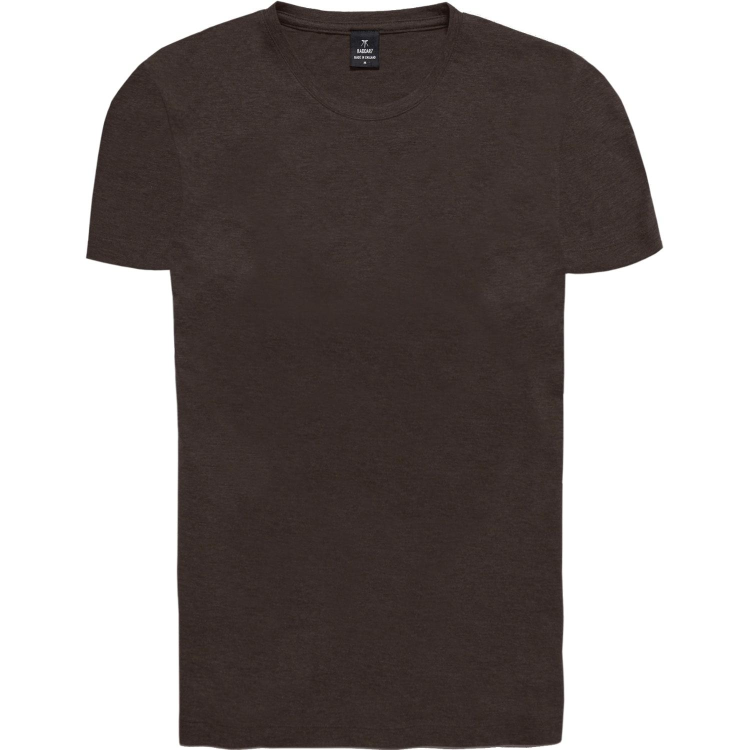 Raddar7 casual luxe sport dark brown crew t shirt in brown for Black brown mens shirts