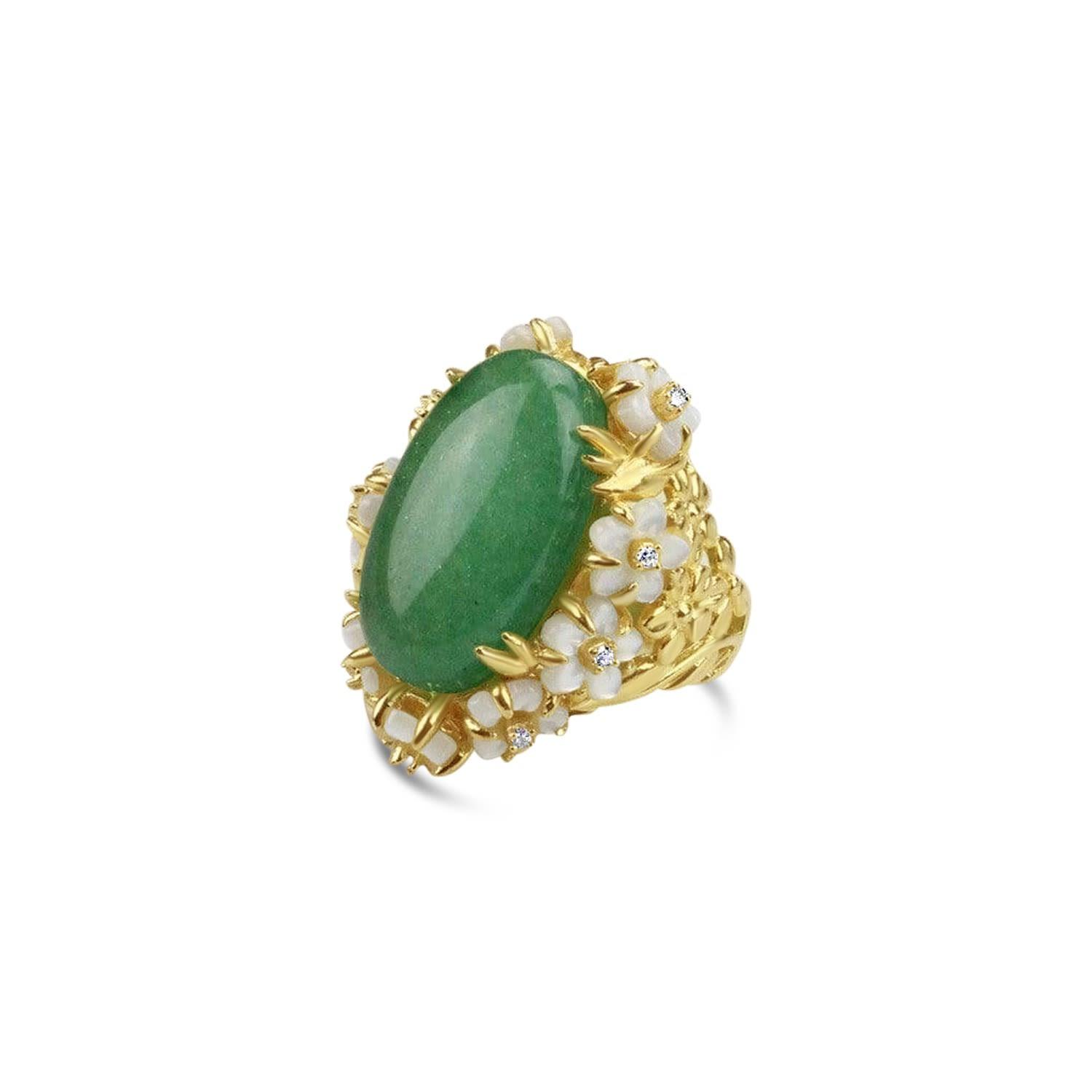 Bellus Domina Gold Plated Green Aventurine Cocktail Ring