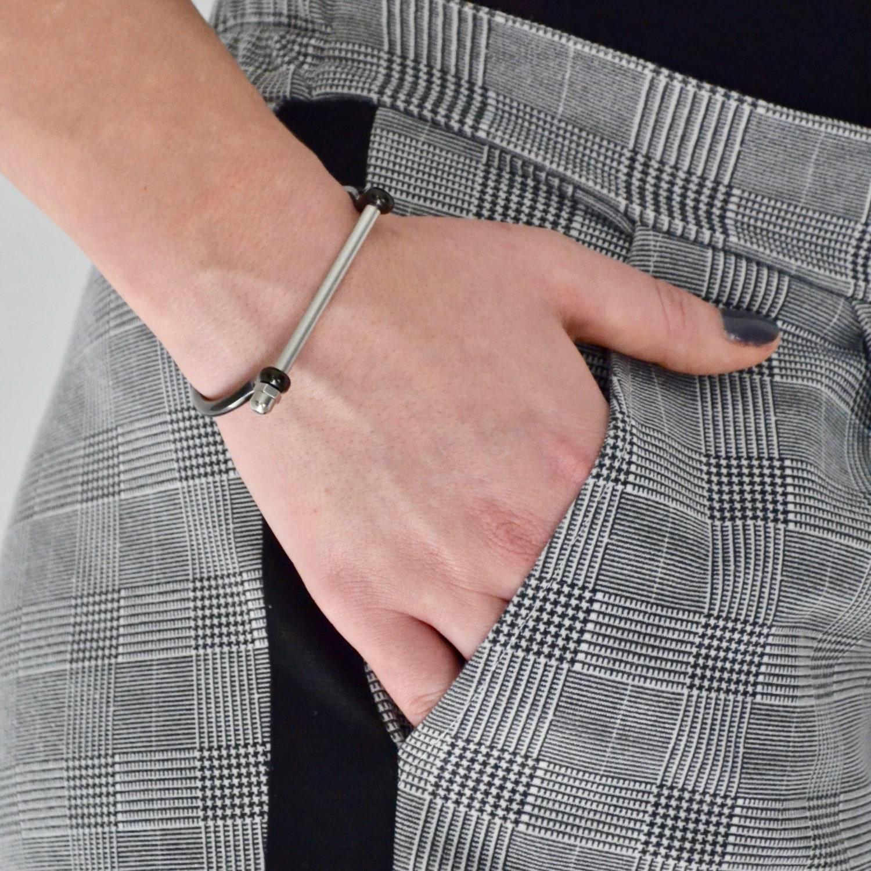 Opes Robur Black & Silver Cuff Bracelet