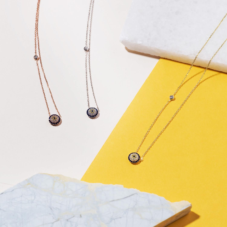 LÁTELITA London Evil Eye Necklace Gold in White / Gold / Blue (Metallic)
