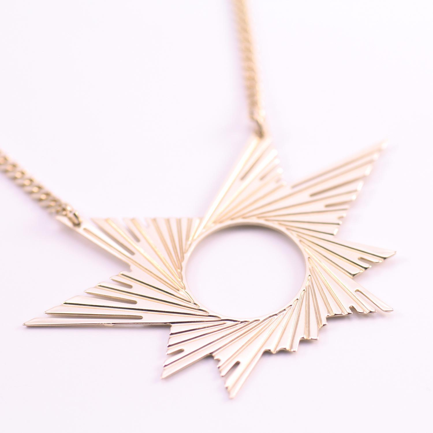 Mademoiselle Felee Cotton Barcelona Engraved Star Estrella Necklace Gold in Metallic