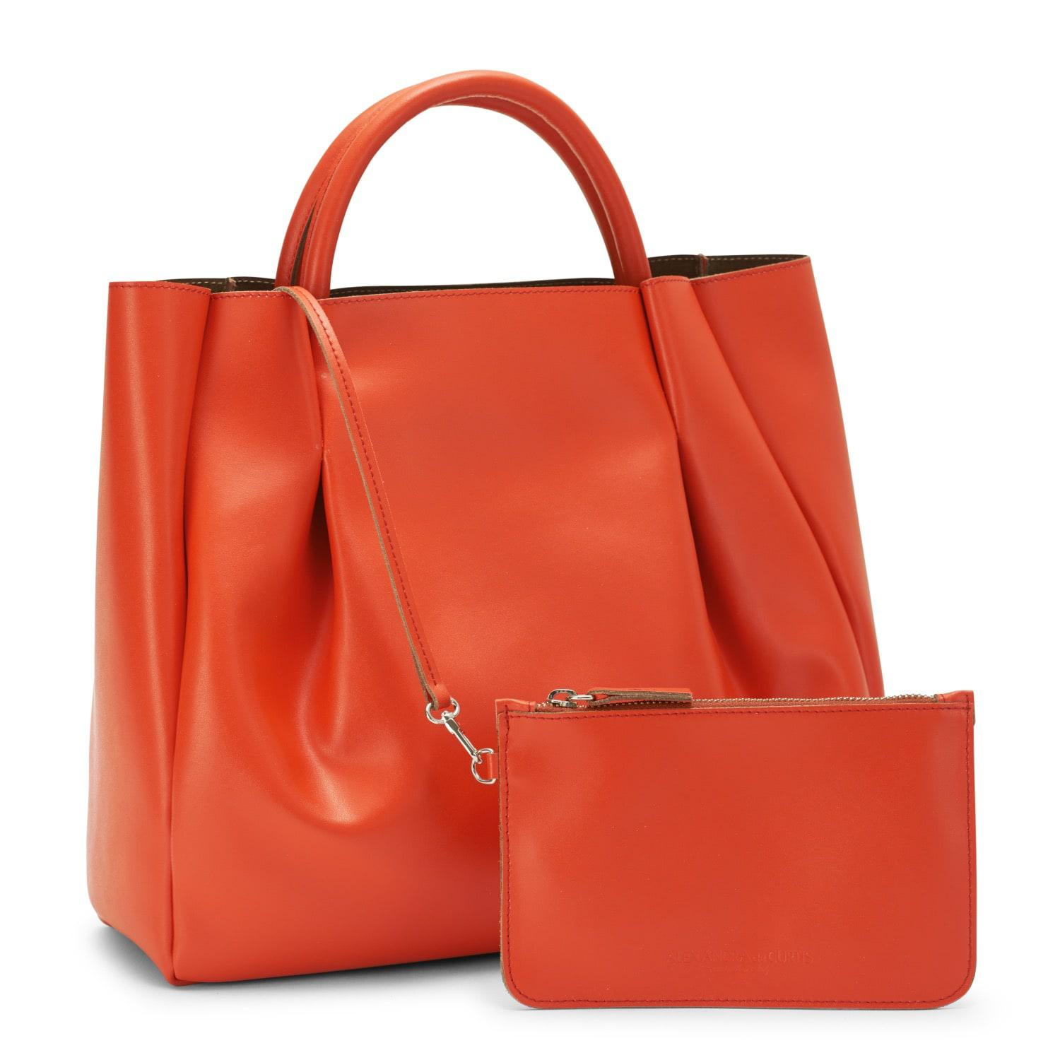 Alexandra De Curtis Suede Maxi Ruched Tote Orange in Red
