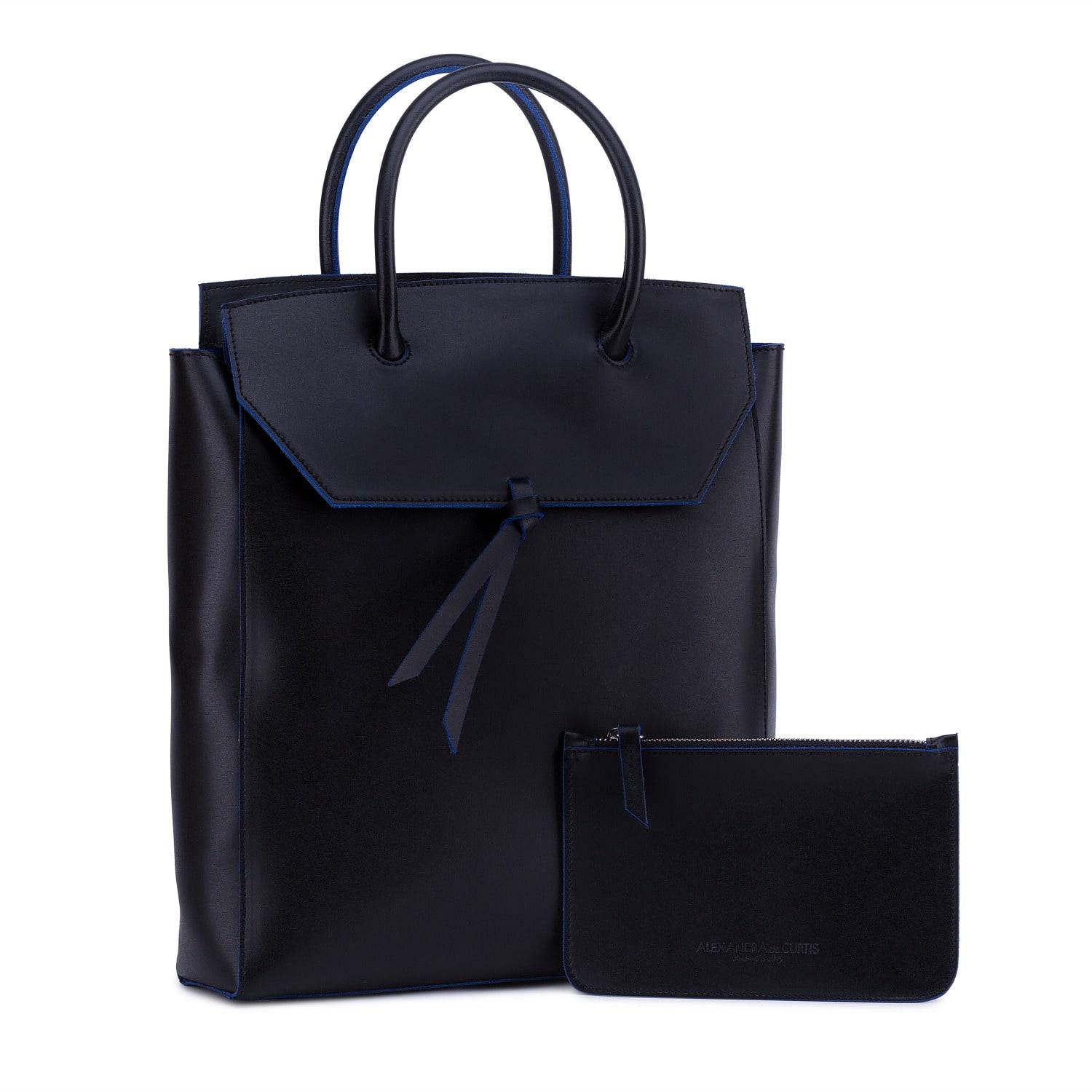 Alexandra De Curtis Leather Tall Loren Tote Black