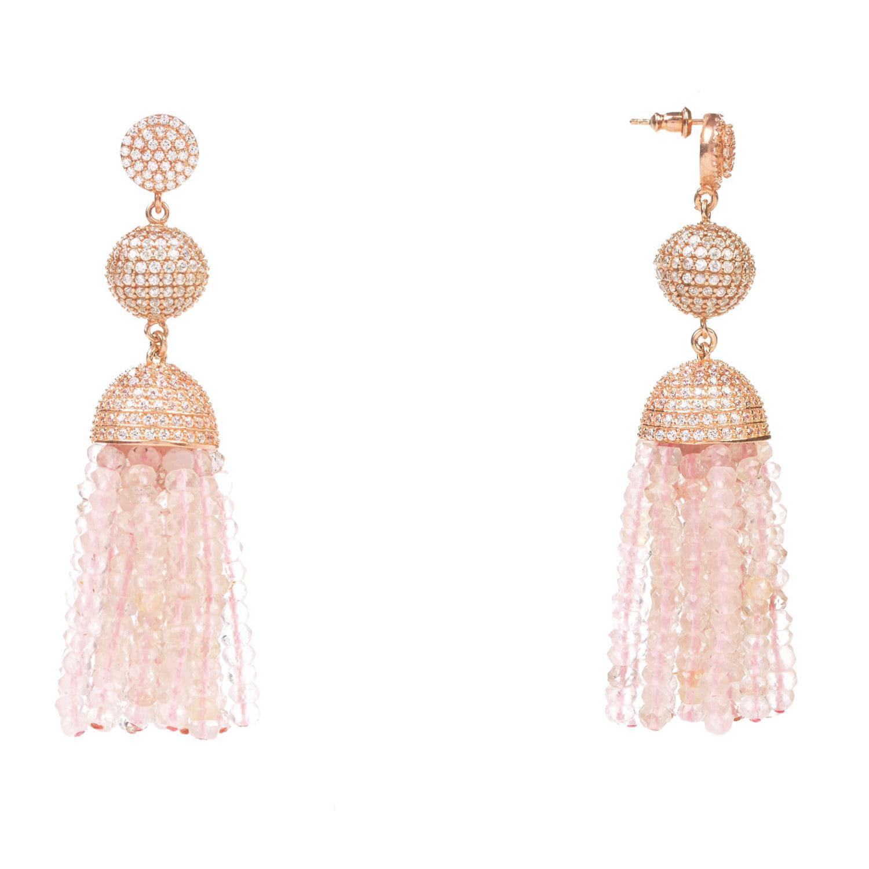 LÁTELITA London Tassel Ball Earring Rose Quartz Rosegold in Rose Gold / Pink / Purple (Pink)
