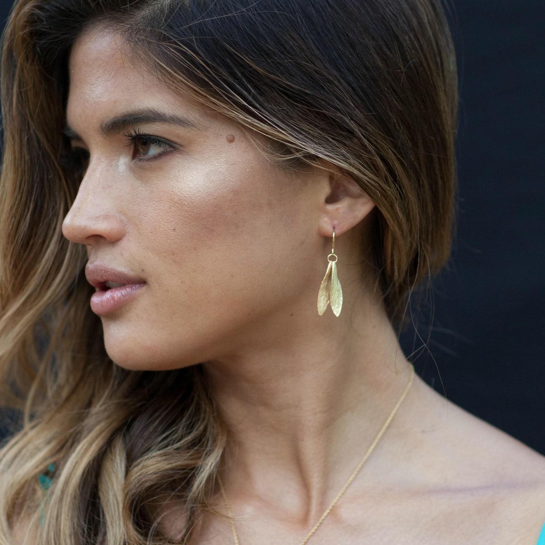 Catherine Zoraida Double Leaf Earring in Gold (Metallic)