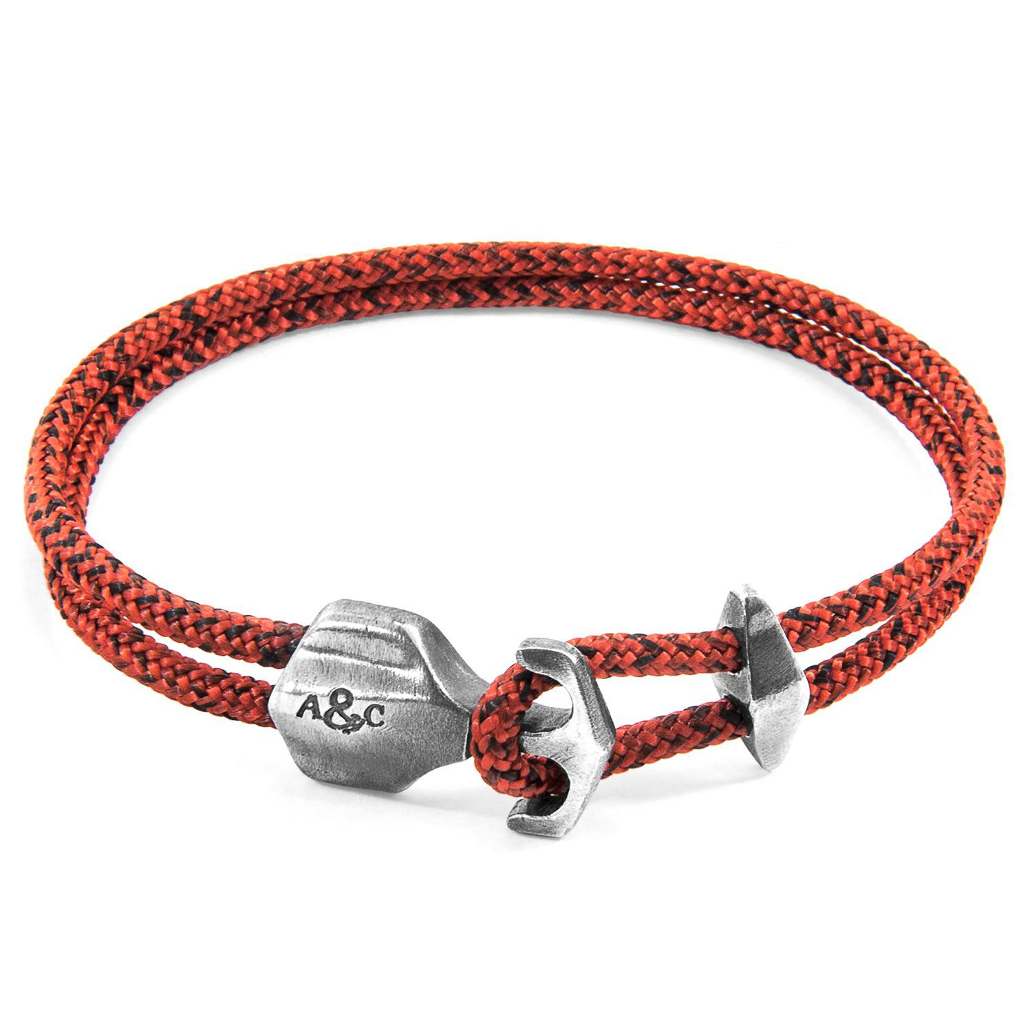 Anchor & Crew Red Noir Union Silver And Rope Bracelet aTV8zS