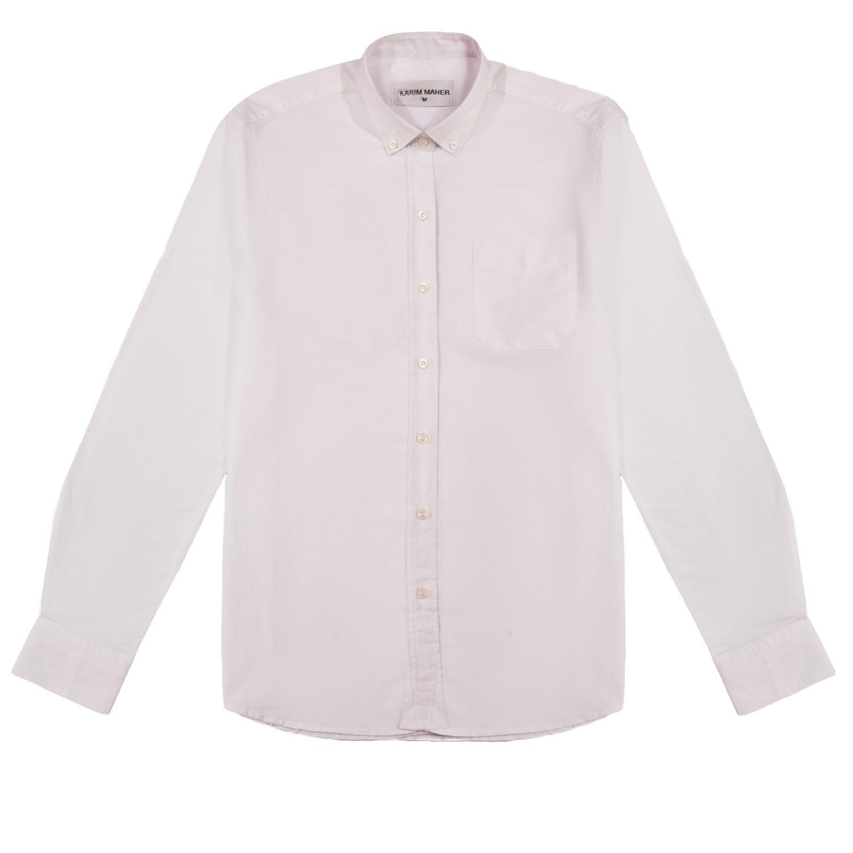 Karim maher white button down cotton oxford shirt in white for White button down oxford shirt