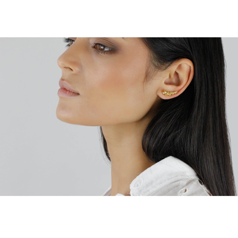 Lee Renee Rose Slider Earring Single Gold in Metallic