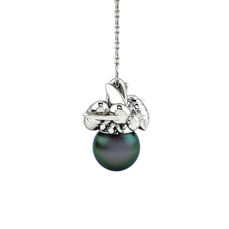 1986 Bee 93° Twin Bee Pendant Rhodium in Silver / Black (Metallic)