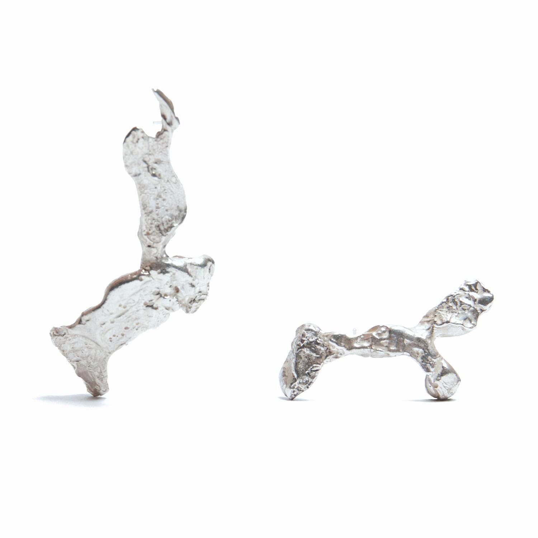 Lyst - Loveness Lee Thala Asymmetrical Silver Cuff & Drop Earrings ...