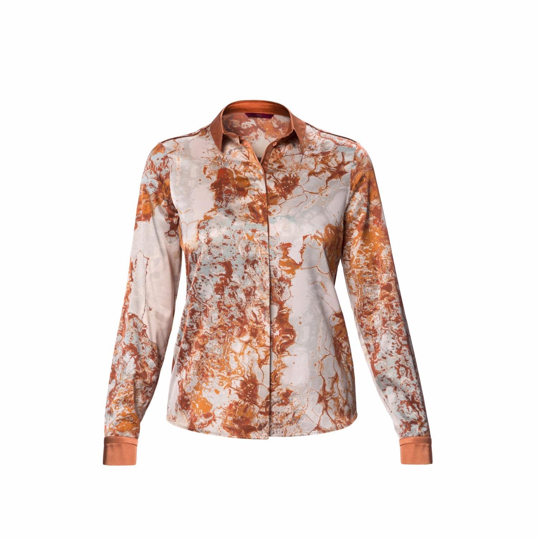 Wtr soho printed long sleeve silk shirt lyst for Silk long sleeve shirt