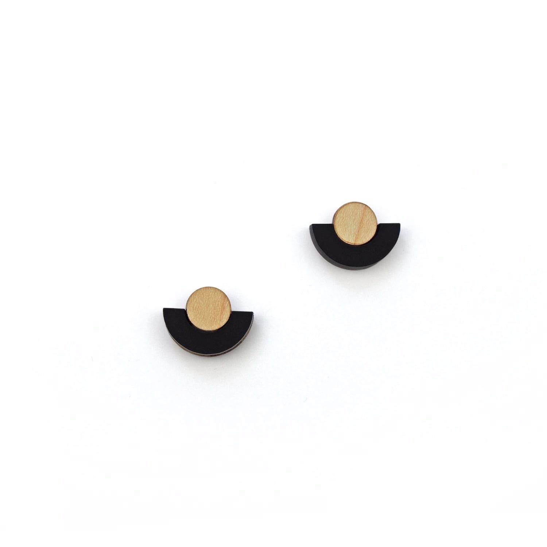 sky half circle stud earrings matte black in black