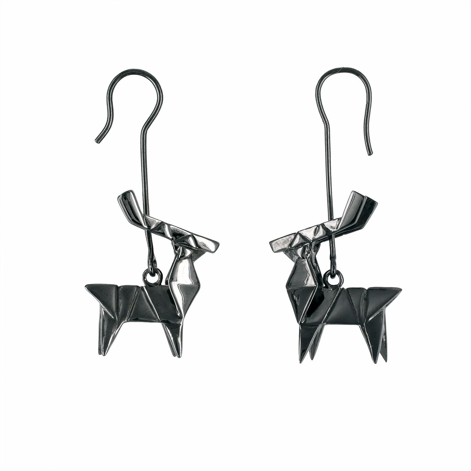 4cd5e3e8e Lyst - Origami Jewellery Earrings Deer Silver Gun Metal in Black
