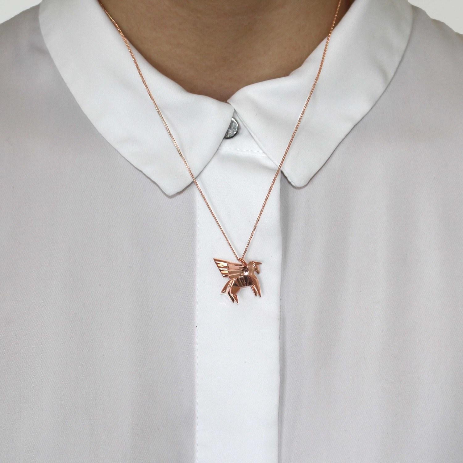 Origami Jewellery Sterling Silver & Pink Gold Mini Pegaze Origami Necklace in Rose Gold (Metallic) - Save 4%