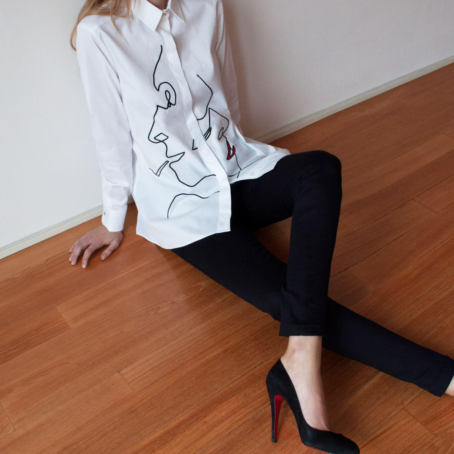 My Pair Of Jeans Cotton Faces Embroidered Shirt in Red / Black / White (White)