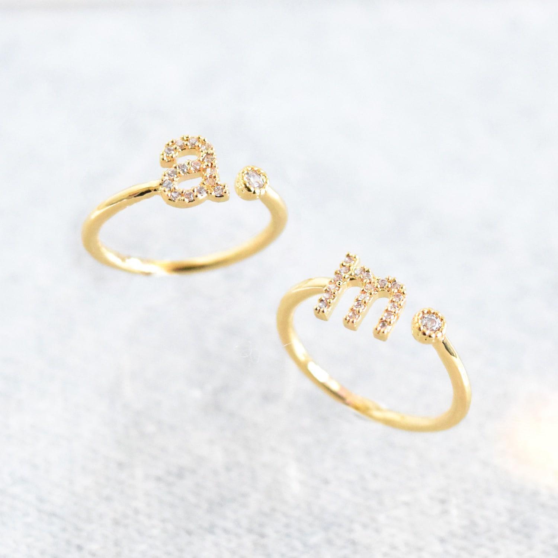 Astrid & Miyu Gold Initial J Ring in Metallic