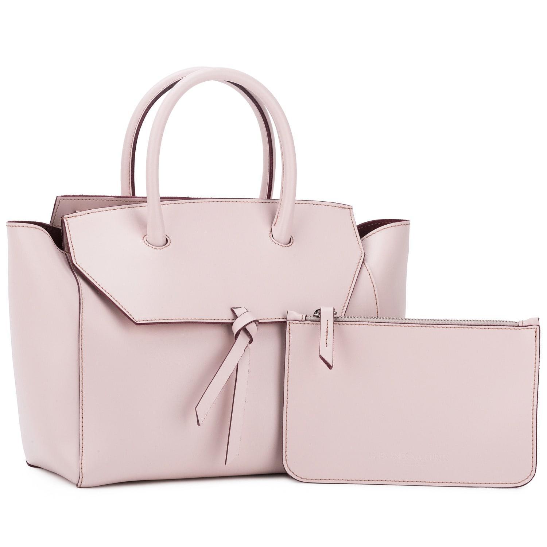 Alexandra De Curtis Leather Midi Loren Tote Blush Pink