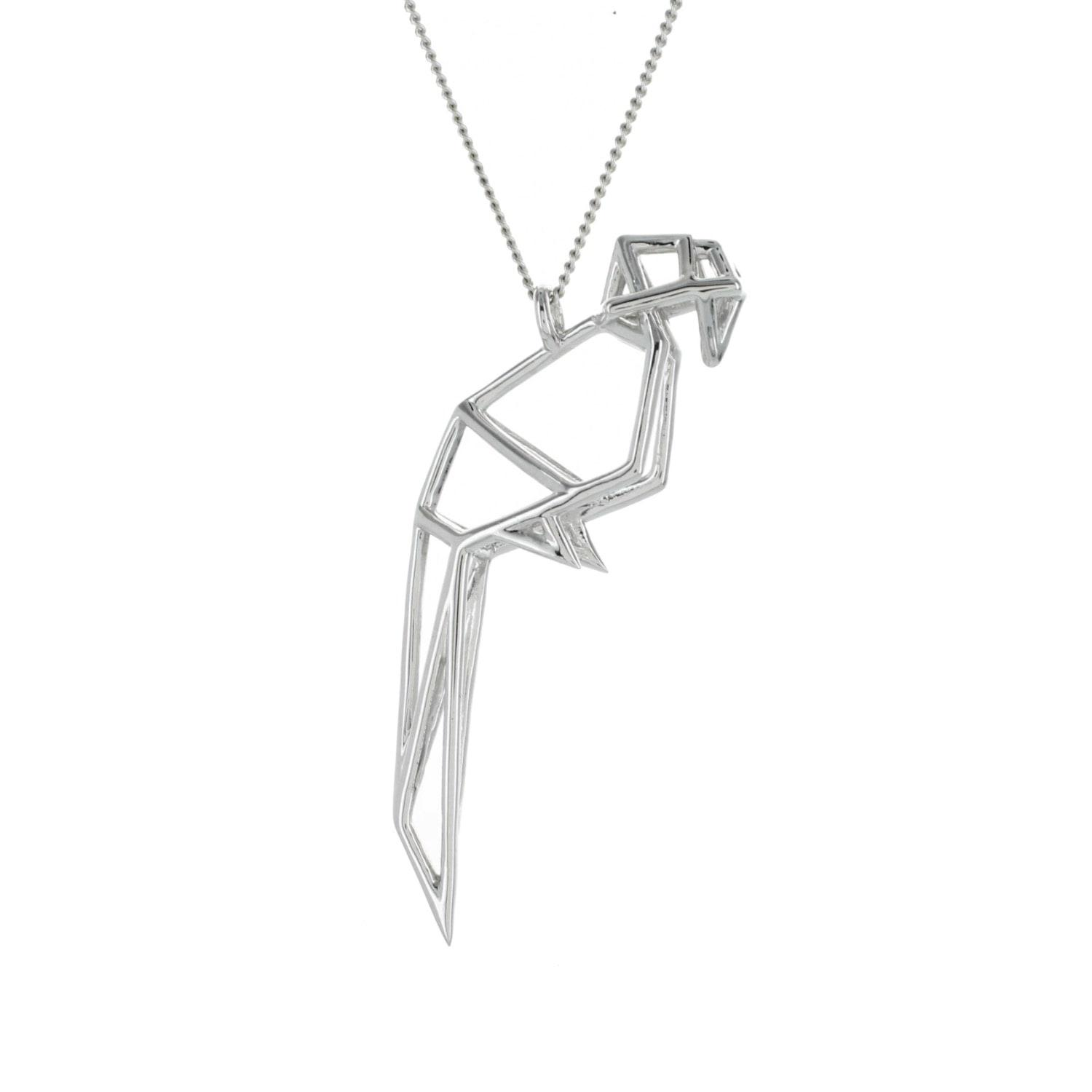 lyst origami jewellery frame parrot necklace sterling