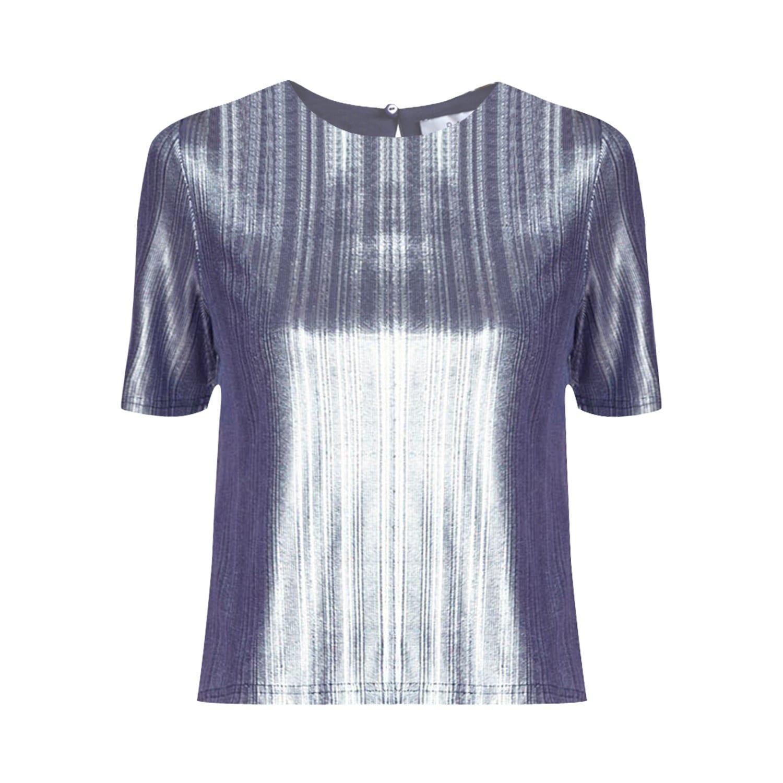 Lyst Paisie Silver Metallic Top In Blue