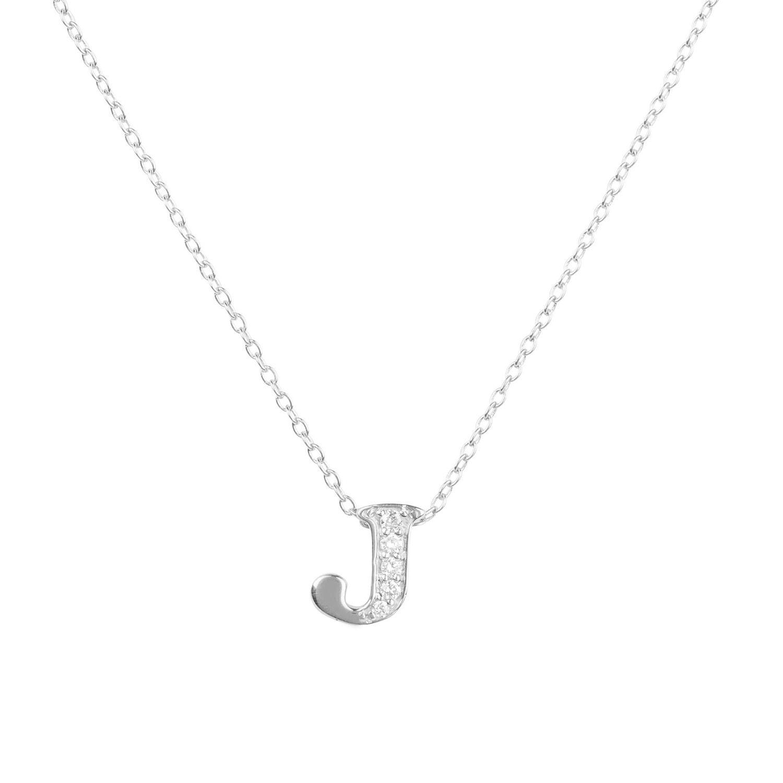 "Letter /""J/"" Initial Charm Pendant Necklace 14K White Gold"