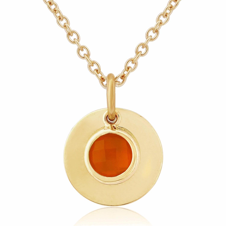 Auree Bali 9ct Gold July Birthstone Necklace Carnelian in Yellow / Orange / Gold (Metallic)