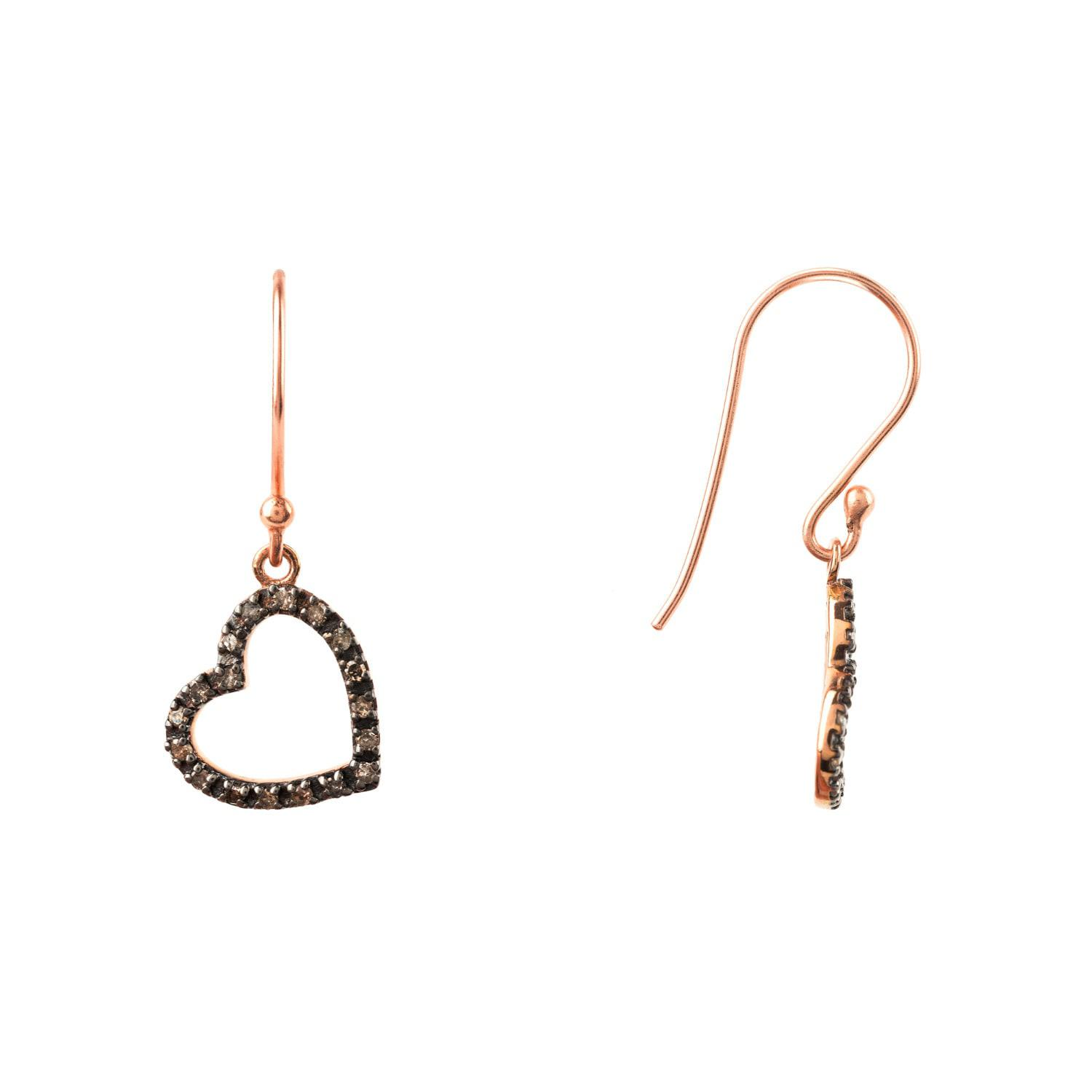 Latelita London Diamond Large Open Heart Earring Rose gold 55ZNIT