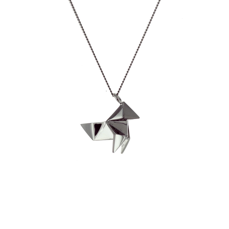 Origami Jewellery Titanium Black Silver Cuckoo Necklace ajHnOE