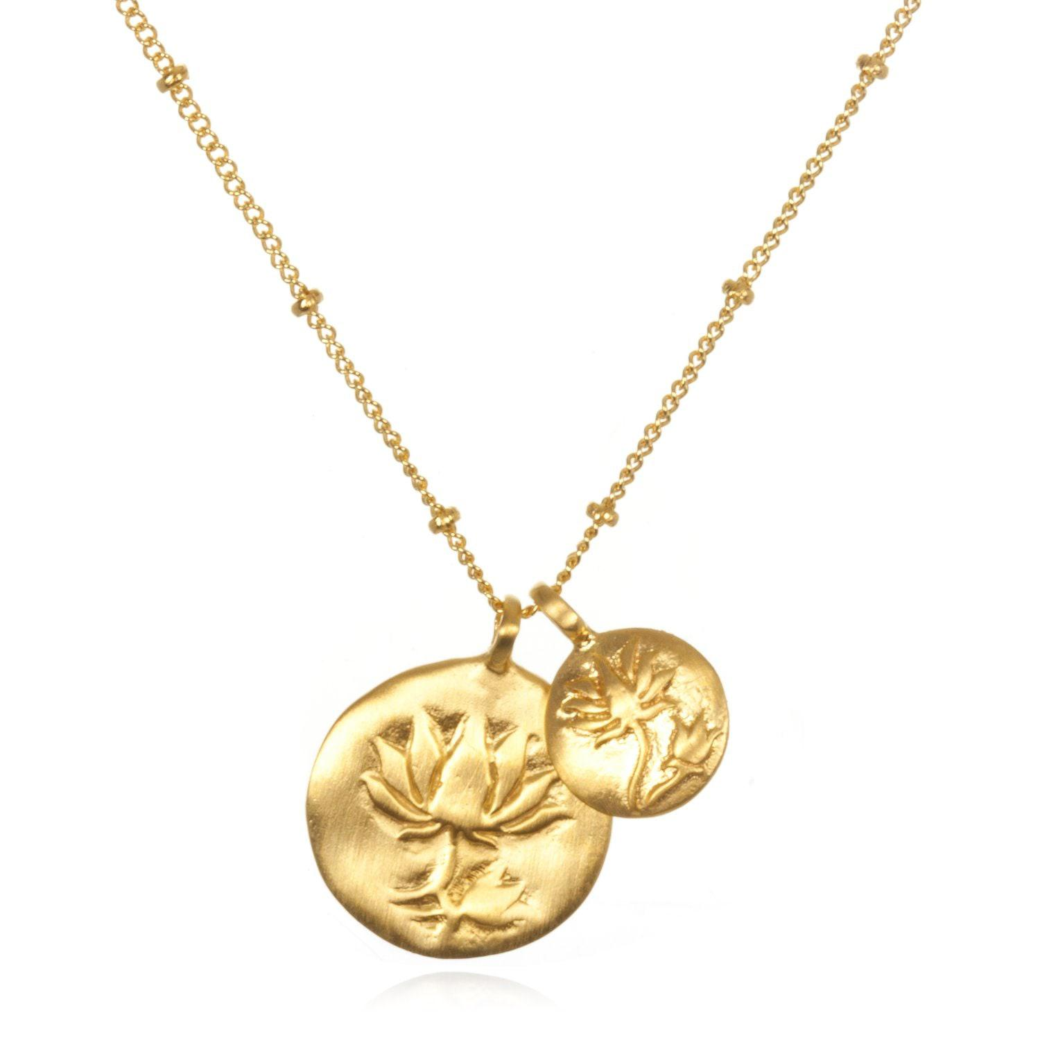 a8903baa14f64c Satya Jewelry Double Lotus Gold Necklace in Metallic - Lyst