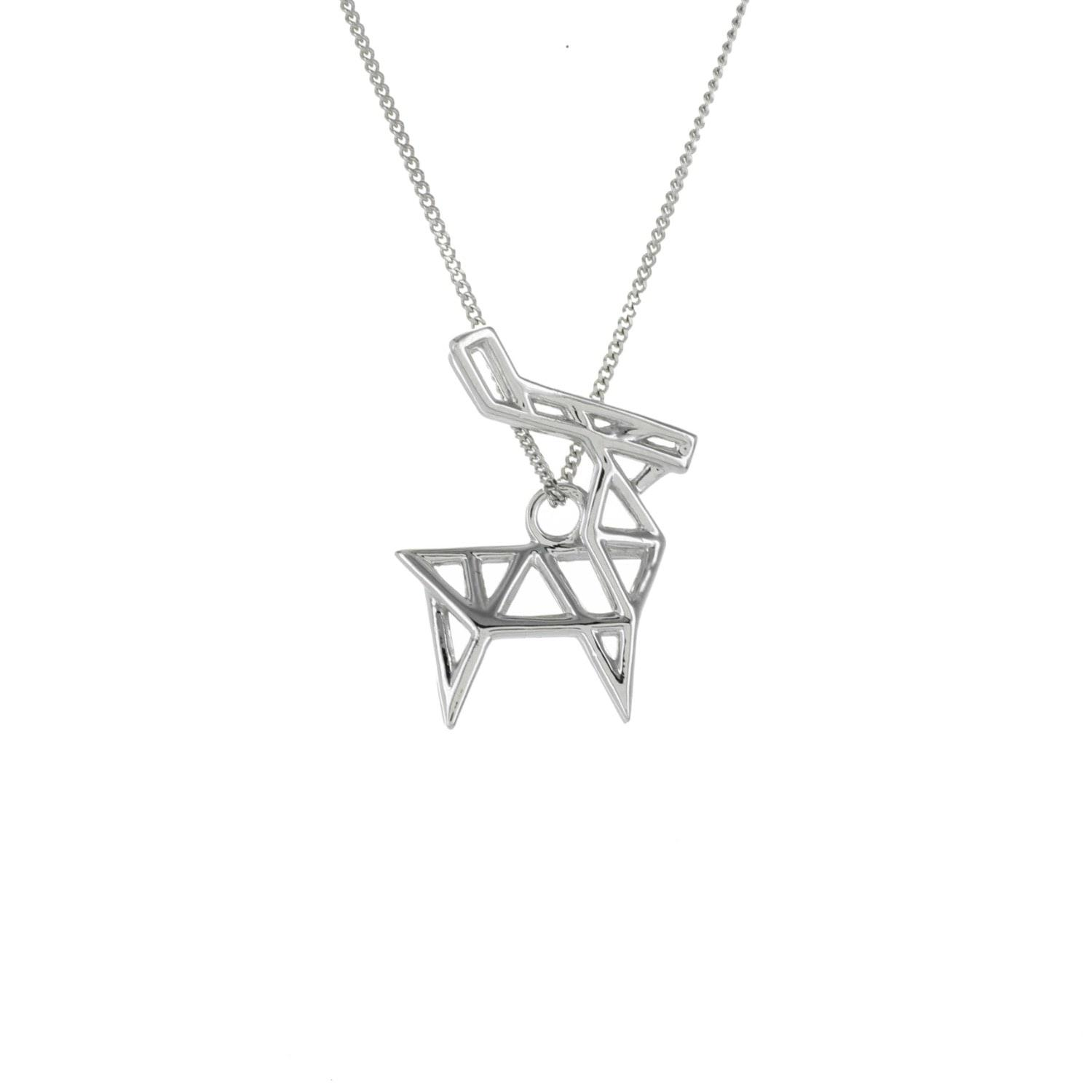 Origami Jewellery Sterling Silver & Gold Mini Deer Origami Necklace ahinTP