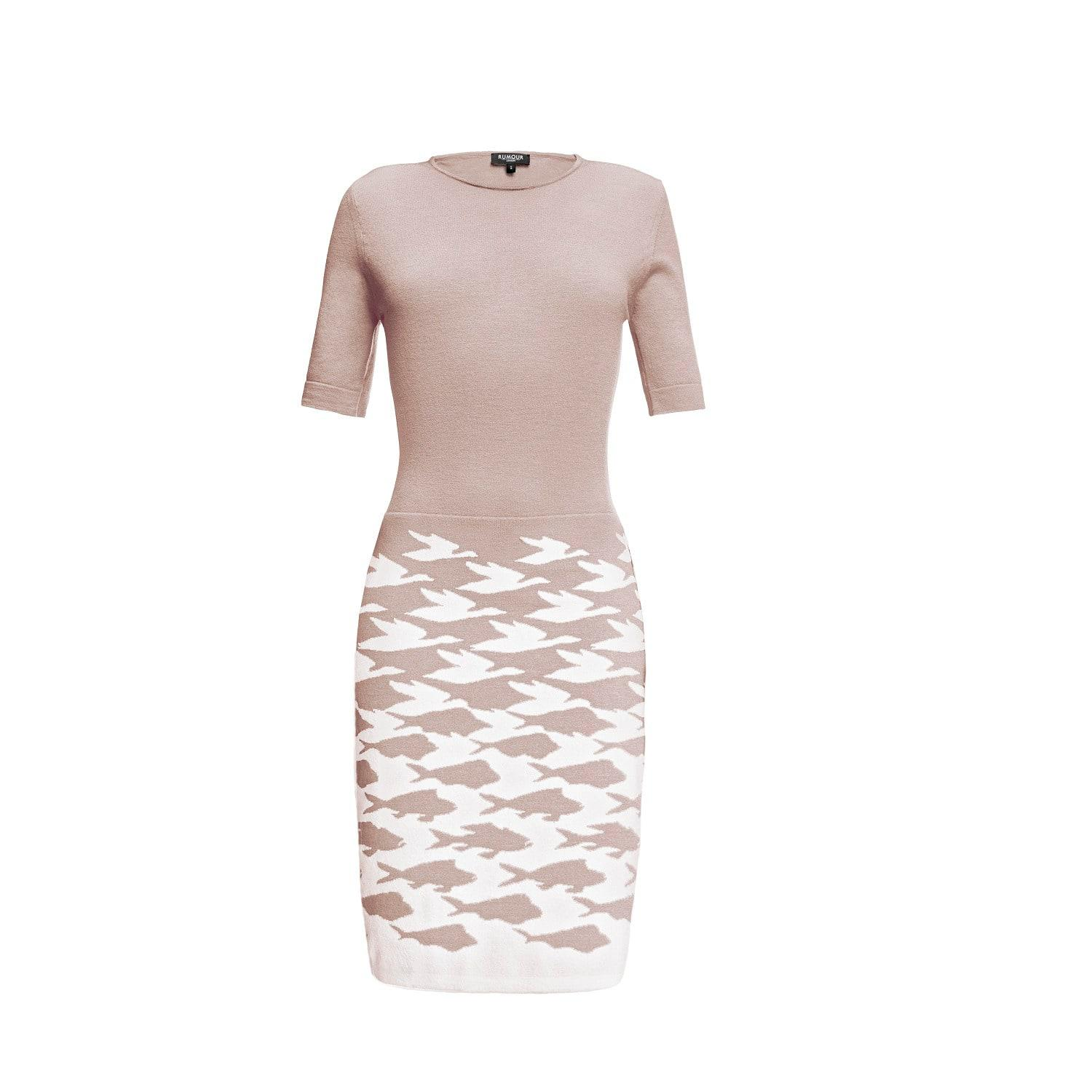 376addb1c403f Rumour London Sea   Sky Soft Pink Merino Wool Knitted Dress in Pink ...